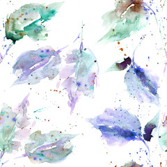Seamless background with watercolor leaves