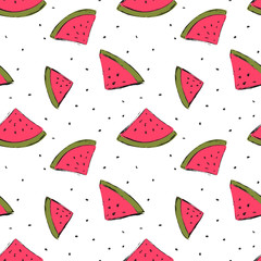 Seamless pattern with hand drawn cute watermelons. Vector illustration