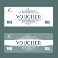 Retro gift voucher and a place for text, logo, contact information.