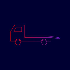 Service of evacuation sign. Wrecking car side. Car evacuator. Vehicle towing. Vector. Line icon with gradient from red to violet colors on dark blue background.