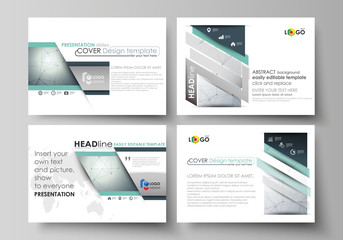 Business templates for presentation slides. Vector layouts in flat design. Genetic and chemical compounds. Atom, DNA and neurons. Medicine, chemistry, technology concept. Geometric background.