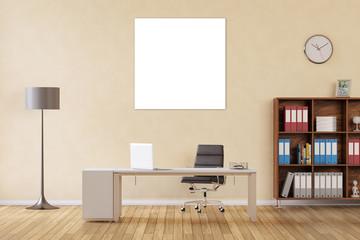 Quadratisches Bild als Leinwand im Büro