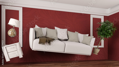 m bel und sofa schweben schwerelos im raum stock photo and royalty free images on. Black Bedroom Furniture Sets. Home Design Ideas