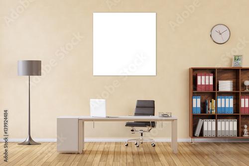 quadratisches bild als leinwand im b ro stockfotos und lizenzfreie bilder auf. Black Bedroom Furniture Sets. Home Design Ideas