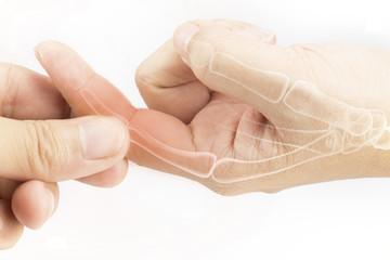 finger bone pain white background