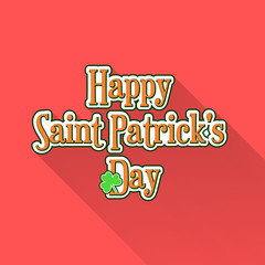 Flat Saint Patricks Day typographic label with green clover on pink background. Material design colors and long shadow. Template for greeting card design, banner, flyer, party invitation.