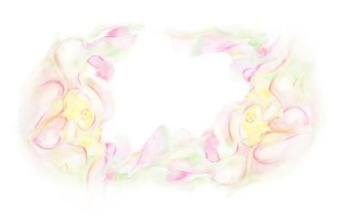Акварельная поздравительная открытка с цветами.