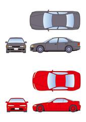 自動車イラスト、車、カー、四輪自動車、乗用車