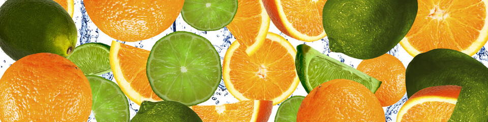 Oranges and limes in the water