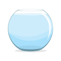 Empty fishbowl with water on white background