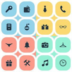 Vector Illustration Set Of Simple Instrument Icons. Elements Password, Fragrance, Ring And Other Synonyms Giveaways, Spectacles And Ring.
