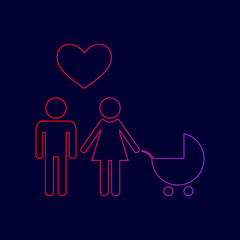 Family symbol with pram and heart. Husband and wife are kept each other`s hands. Love. Vector. Line icon with gradient from red to violet colors on dark blue background.