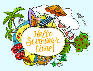 Summer speech bubble with Hello summer time lettering. Background with summer tropical beach