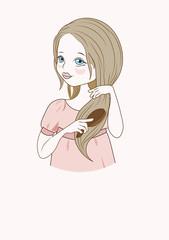 girl brushes hairъ