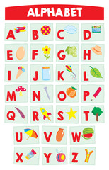 Cartoon alphabet for kids – education poster. Learn alphabet letters