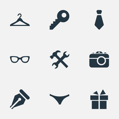 Vector Illustration Set Of Simple  Icons. Elements Password, Hanger, Underwear And Other Synonyms Key, Tie And Nib.