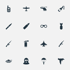 Vector Illustration Set Of Simple Battle Icons. Elements Ammunition, Kalashnikov, Sky Force And Other Synonyms Paratrooper, Extinguisher And Nuke.