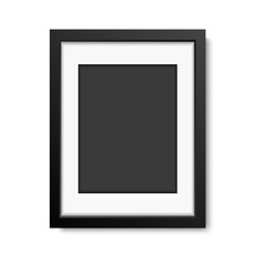Realistic black frame  isolated on white background. vector illustration
