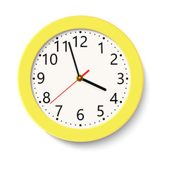 Classic yellow round wall clock isolated on white . Vector illustration