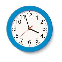 Classic blue round wall clock isolated on white . Vector illustration