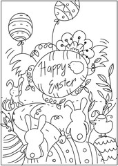 Happy Easter Greeting card pen sketch