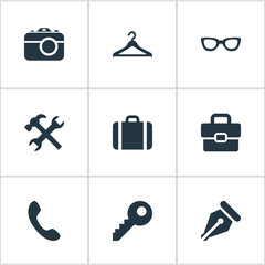 Vector Illustration Set Of Simple  Icons. Elements Business Bag, Password, Call Button And Other Synonyms Case, Call And Photo.
