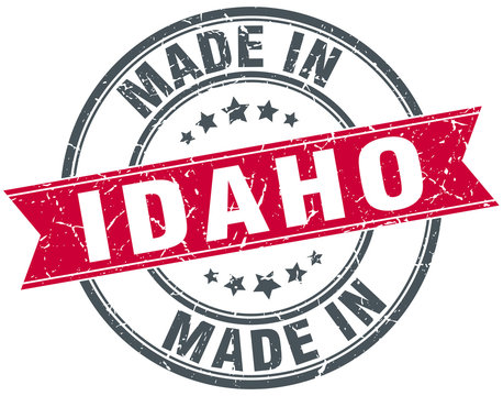 made in Idaho red round vintage stamp