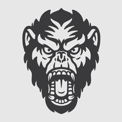Angry Mad Ape Chimpanzee Head Logo Mascot Emblem