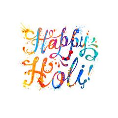 Happy Holi! Splash paint inscription