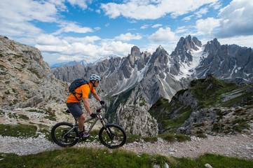 mountain bike alpcross in the dolomites