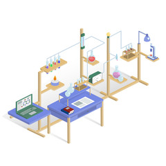 Laboratory research chemical isometric style design vector illus