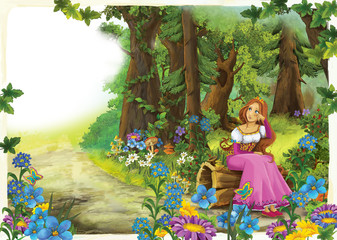 cartoon woman sitting in a beautiful colorful forest