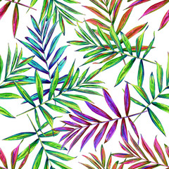 Seamless floral pattern with beautiful watercolor palm leaves. Colorful jungle foliage on white background. Textile design.