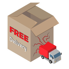 Free delivery icon. 3D isometric view. Vector illustration.