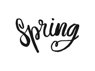 Hand lettered inspirational text April Spring. Hand brushed ink lettering. Modern brush calligraphy. Vector