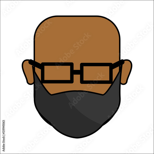 """""""people, Avatar Face Men With Glasses Icon"""" Stock Image"""