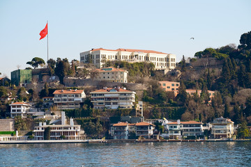 Architecture on the Bosphorus Strait, Istanbul in Turkey.