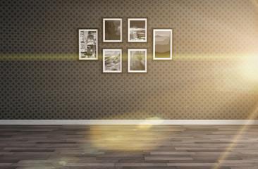empty black interior. 3d illustration