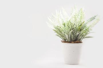 fake flower with vase on white background