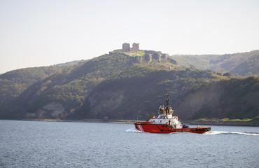 Coast guard on the Bosphorus near Yoros Castle, Istanbul, Turkey.
