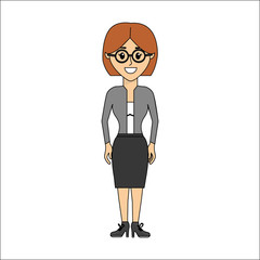 people, woman with casual cloth and glasses avatar icon