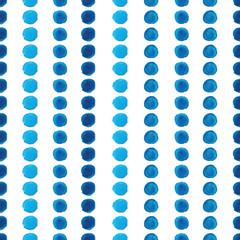 Watercolor blue polka dot seamless pattern
