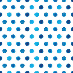 Watercolor blue polka dot seamless pattern