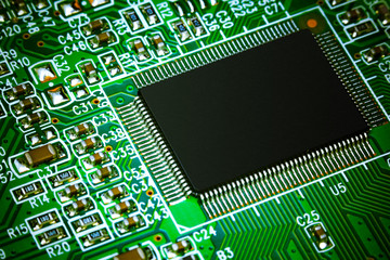 The electronic board with microcircuits