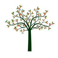 Green Tree and Orange Fruits. Vector Illustration.