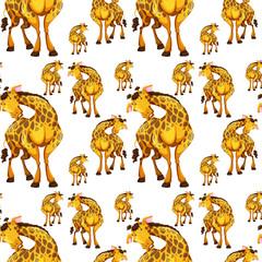 Seamless background design with giraffes