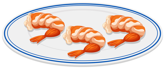 Boiled shrimps on the plate