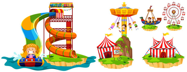 Different rides in theme park