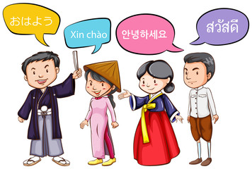 Four people greeting in different languages