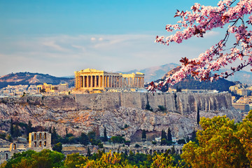 View on Acropolis at sunset, Athens, Greece